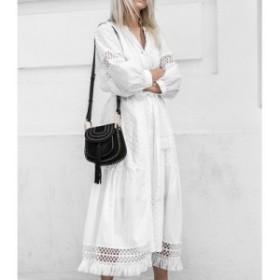 ワンピース ロングワンピース 白 ロング丈 ホワイト 透け感 刺繍 コットン