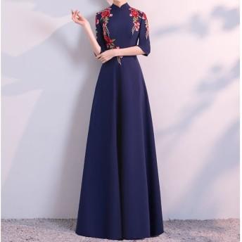 パーティードレス お呼ばれ 袖あり ロングドレス オルチャン ロング 大きいサイズ 演奏会 aライン 結婚式 ロングドレス オルチャンファッション パーティー 韓国ファッション レディース