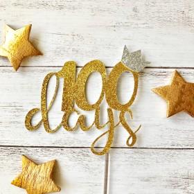 選べるグリッター3色!100日お祝いグリッターケーキトッパー 100日 100日祝い 飾り
