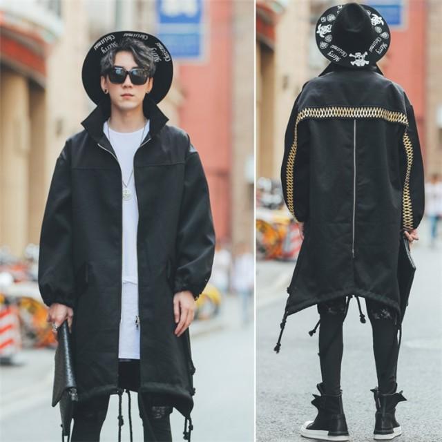 [55555SHOP] 個性的なデザイン 韓国風 アウター ジャケット ポップなファッション メンズ レンチコート スリム ハンサム トレンチコート