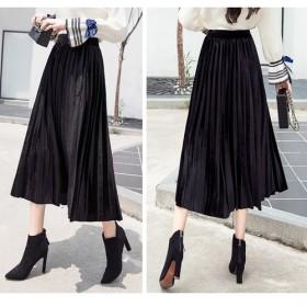黒 ベロアプリーツスカート ロング スカート プリーツスカート ベロア 大人 無地 ウエストゴム フレアスカート
