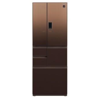 冷蔵庫 シャープ SHARP SJ-GA55E-T エレガントブラウン 茶 550L フレンチドア ガラスドア 耐震ロック プラズマクラスター