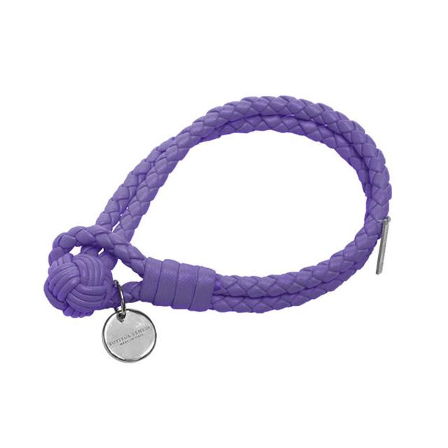 【BOTTEGA VENETA 】薰衣草紫編織小羊皮雙環手環-S號