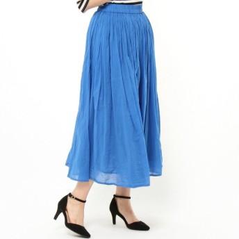 スカート レディース ロング  インド綿100%◎ボイルガーゼ素材の2枚重ねカラースカート 「ターコイズ」