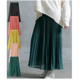 パンツ ワイド ガウチョ レディース ゆったりワンサイズ スカート 見えプリーツ ロング丈  S〜LL ニッセン