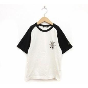 【中古】バーバリーブラックレーベル BURBERRY BLACK LABEL キッズ Tシャツ クルーネック 半袖 1 白 ホワイト ☆CA7☆ /tk0221