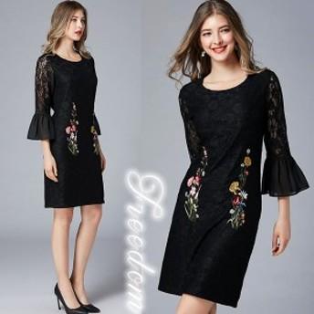 セール 大きいサイズ ドレス 結婚式 ★袖裾シフォンフリル花柄刺繍異素材切替ドレスワンピース★L 2L 3L 4L 5L 6L サイズ yoro547