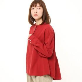 シャツ ブラウス レディース リネンレーヨン素材のスタンドカラーオックスシャツ 「レッド」