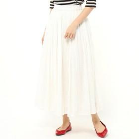 スカート レディース ロング  インド綿100%◎ボイルガーゼ素材の2枚重ねカラースカート 「ホワイト」