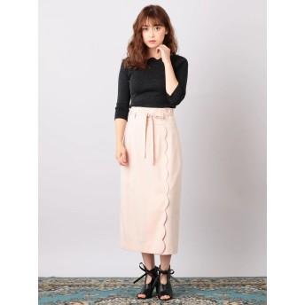 ひざ丈スカート - MIIA ハイウエストスカラップタイトスカート