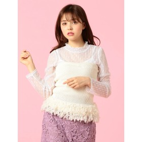 ニット・セーター - MIIA 裾フリンジニット