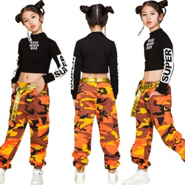 49d067c90 キッズ ダンス衣装 セットアップ 女の子 ダンスウェア へそ出し ガールズ ヒップホップ ステージ衣装 迷彩柄
