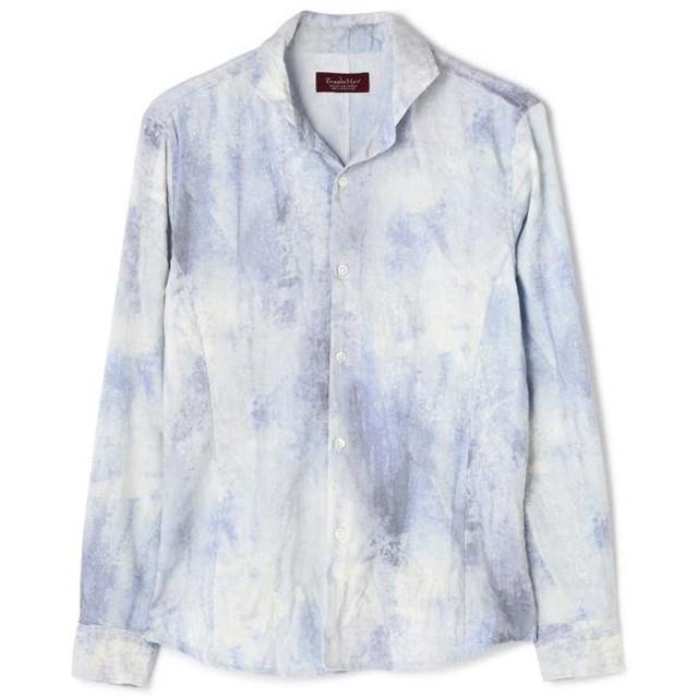 トルネードマート TORNADO MART∴麻ストレッチムラプリントシャツ メンズ サックスブルー9 M 【TORNADO MART】