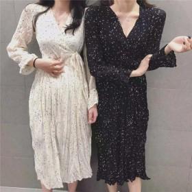 新作追加 高品質で 正規品 韓国ファッション 春新作 Vネック レディ フローラル ワンビース