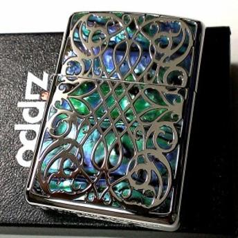 ZIPPO アーマー ジッポ ライター シェルアラベスク 両面色違い シェルインレイ 天然貝象嵌 重厚 シルバー 高級 かっこいい ギフト