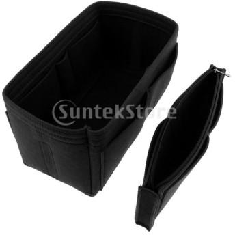 2ピースフェルトハンドバッグインサート財布化粧品メイクオーガナイザーバッグバッグ