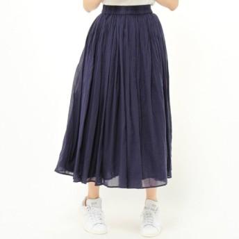 スカート レディース ロング  インド綿100%◎ボイルガーゼ素材の2枚重ねカラースカート 「ネイビー」