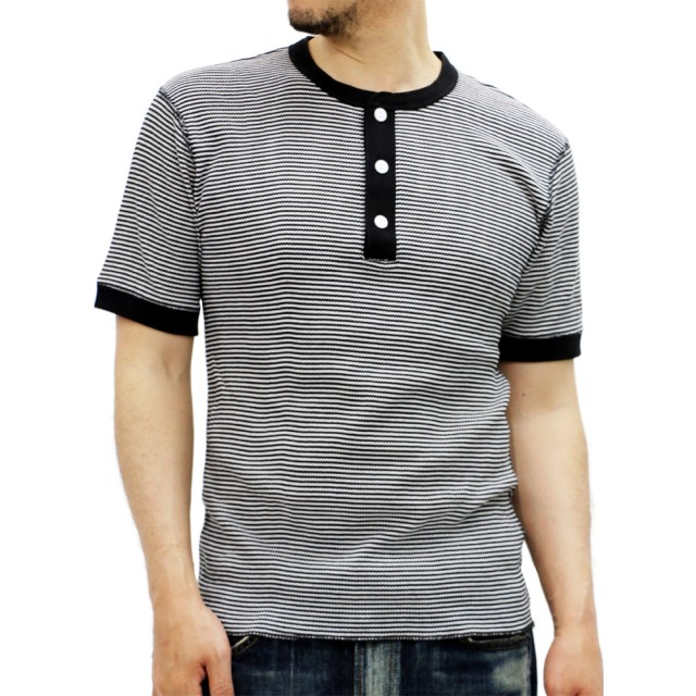 Tシャツ - MARUKAWA ヘンリーネック サーマル 半袖 Tシャツ Healthknit【 ヘルスニット ワッフル 無地 ボーダー シンプル】