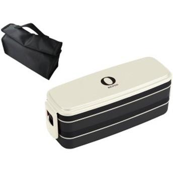 メンズ OSK お弁当箱 2段 ランチバッグ付 Black & White ホワイト BLW-34HC 大型 大容量 【lh8124】