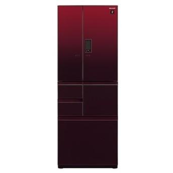 冷蔵庫 シャープ SHARP SJ-GA55E-R 赤 レッド 550L フレンチドア ガラスドア 耐震ロック 電動アシストドア プラズマクラスター