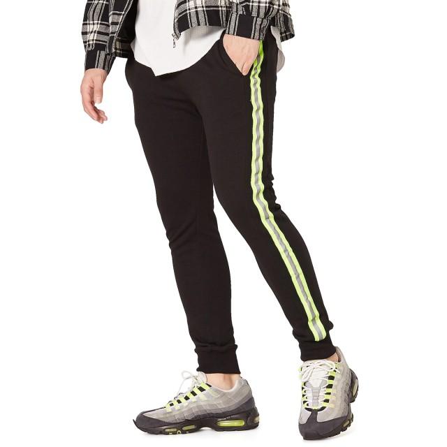 ジョガーパンツ - improves 蛍光 ラインパンツ メンズ レディース ダンス スウェット ジョガーパンツ サイドライン スウェットパンツ セットアップ 上下 可能ジャージ スリム スエットパンツ トラックパンツ リフレクター イージーパンツ テーパード 黒 メンズファッシ