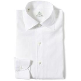 LUIGI BORRELLI / リネン ソリッド ワンピースカラーシャツ メンズ ドレスシャツ WHITE/10 S