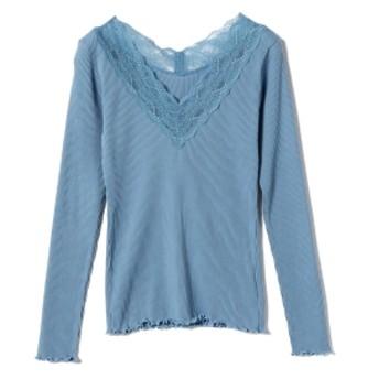 Ray BEAMS / テレコ レース Vネック Tシャツ レディース カットソー BLUE ONE SIZE