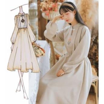 チャイナ風ワンピース チュニック ドレス 唐装 漢服 レトロ 長袖 ロング丈 改良型チャイナドレス S M L ゆったり 刺繍入り