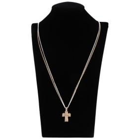 Homyl クロスネックレス 十字架 ペンダント ネックレス チェーン プレゼント ラインストーン キラキラ 2色 - ゴールド