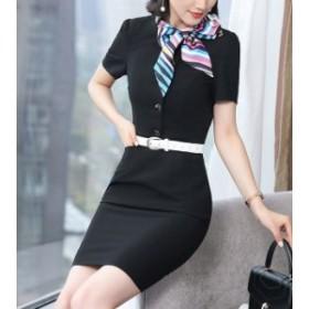 半袖ワンピースミニワンピースレディーストップススカーフ付きボタンスーツ風制服風OLタイト細身シンプル無地ビジネスオフィス