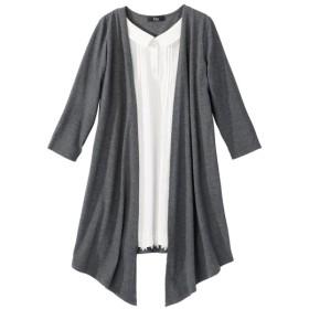 衿ぐり調整できる7分袖シャツ 重ね着風チュニック