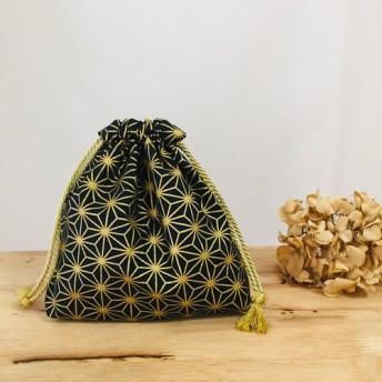 あると便利な巾着袋 ︎マチ&裏地付き! ︎和柄/麻の葉/黒