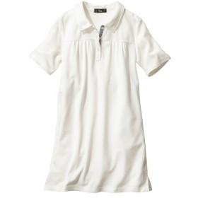 吸汗速乾。UVカット半袖ポロシャツチュニック (大きいサイズレディース)