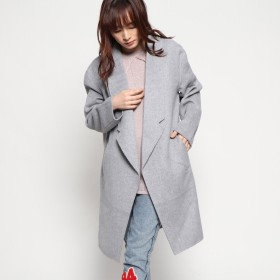 ゲス GUESS LYDIA WOOL-BLEND COAT (HEATHER LIGHT GREY)