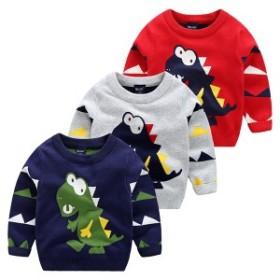 秋冬新作子供服男の子パターン通園通学インナーシャツニットセータークルーネックニットニットプルオーバーセーター可愛い