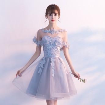 エレガント上品素敵 2 WAYS 着回しグレーレースドレス 結婚式 お呼ばれ 二次会 ワンピース パーティー演奏会発表会チュール 披露宴コンサート韓国ファッション