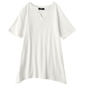 綿混ヘンリーネックカットソープルオーバー (大きいサイズレディース)Tシャツ・カットソー