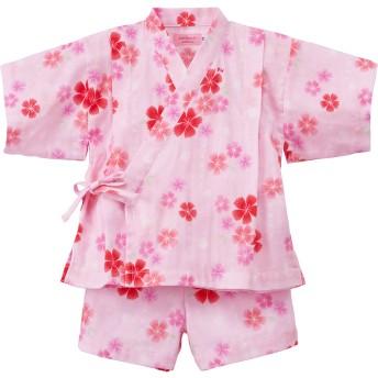 ミキハウス さくら柄ガーゼ甚平スーツ ピンク