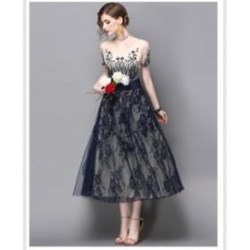 結婚式パーティードレス総レースパーティードレス結婚式刺繍ドレス大人ドレスドレスワンピースロングワンピース二次会