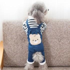 ペット用ドッグウェアキャットウェア犬猫オーバーオール風クマくま熊スカートフリルボーダーデニム風犬用猫用洋服ペットウェア