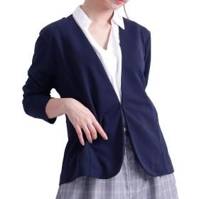 [マルイ] 大きいサイズ レディース ポンチ ノーカラー テーラードジャケット 長袖 無地/ゴールドジャパン(大きいサイズ)(GOLDJAPAN)