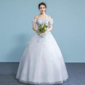 ウェディングドレスウエディングドレスベアトップ編み上げレース刺繍ドレスロングドレス花嫁ドレストランペット結婚式ビスチ二次会