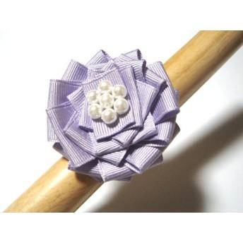 特価:無地グログラン・シュシーリボンヘアゴム 薄紫xホワイト