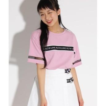 ピンク ラテ(ティーン) 胸ロゴテープ半袖 Tシャツ レディース ベビーピンク(071) 02(M165cm) 【PINK latte (Teen)】