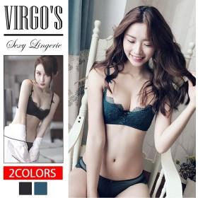 VIRGOS ヴァルゴーズ リボンが可愛い ハーフカップ ブラセット 1/2カップ ブラジャー ショーツ 2色 グリーン レース ブラック