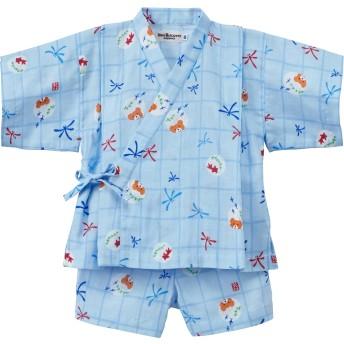 ミキハウス とんぼ&金魚柄ガーゼ甚平スーツ ブルー