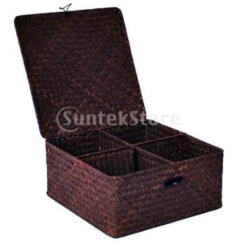 長方形織バスケット海草装飾収納ボックスオーガナイザー