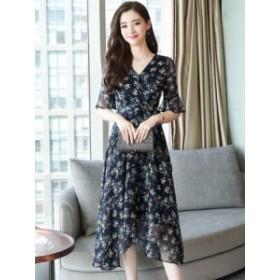 シフォン 小花柄 ワンピース ミモレ フェミニン ドレス*韓国新作*