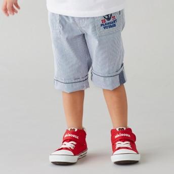 ミキハウス イカリマークの7分丈パンツ 白×ブルー