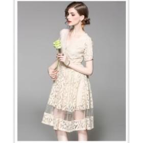 欧米ブランドデザイン高級感大人ドレス総レースドレスフレアワンピース花柄刺繍ワンピース透かし彫り